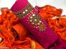 Hand Work Chanderi Cotton Suit
