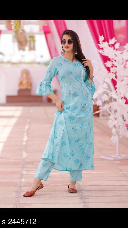 Kurtis & Kurtas Women's Printed Cotton Kurta set with Palazzos  *Fabric* Kurti- Cotton, Palazzo- Cotton  *Sleeves* Sleeves Are Included  *Size* Kurti  *Length* Kurti - Up To 47 in, Palazzo - Up To 40 in  *Type* Stitched  *Description* It Has 1 Piece Of Women's Kurti & 1 Piece Of Palazzo  *Work* Kurti - Printed, Palazzo - Printed  *Sizes Available* S, M, L, XL, XXL *    Catalog Name: Women's Printed Cotton Kurtis CatalogID_327874 C74-SC1001 Code: 525-2445712-
