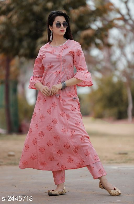 Kurtis & Kurtas Women's Printed Cotton Kurta set with Palazzos  *Fabric* Kurti- Cotton, Palazzo- Cotton  *Sleeves* Sleeves Are Included  *Size* Kurti  *Length* Kurti - Up To 47 in, Palazzo - Up To 40 in  *Type* Stitched  *Description* It Has 1 Piece Of Women's Kurti & 1 Piece Of Palazzo  *Work* Kurti - Printed, Palazzo - Printed  *Sizes Available* S, M, L, XL, XXL *    Catalog Name: Women's Printed Cotton Kurtis CatalogID_327874 C74-SC1001 Code: 525-2445713-