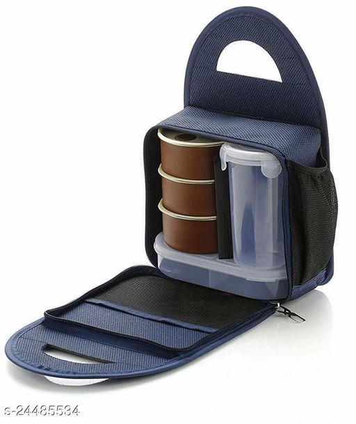 Lunch Box with Bag for Office (Pack Contains- 3 Stainless Steel Containers, 1 Casserole with Bottle and Bag, Colour-Blue)