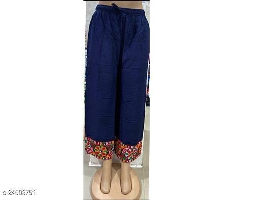 Regular Fit Women Blue Embroidered  Rayon Plazo