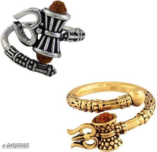 pack of 2 Trishul Damaru Rudraksh Ring silver and gold plated bahubali style ring