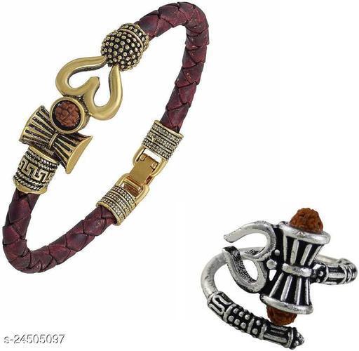 bahubali leather om trishul damaru rudraksh kada with sivler plated rudraksh ring pack of 2