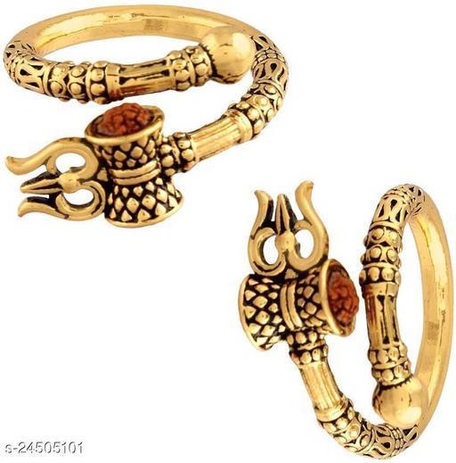 trishul damaru rudraksh gold plated ring bahubali style ring pack of 2