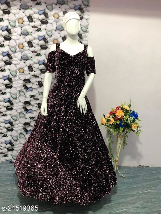VELVET SILK WITH FULL SEQUENCE EMBROIDERY DESIGN WOMANS BEST GOWNS