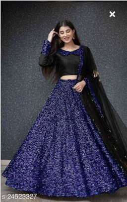 Pure  9000 Velvet With Heavy Sequance  Embroidered Work lehenga With Silk Sequance Work Blouse With Heavy Sequance Lace Net Dupatta