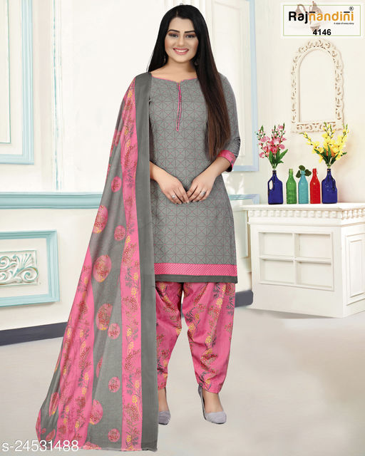 Rajnandini Women's Sky Blue Cotton Printed Unstitched Salwar Suit Material
