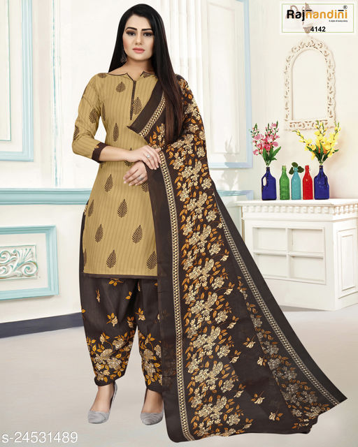 Rajnandini Women's Brown Cotton Printed Unstitched Salwar Suit Material