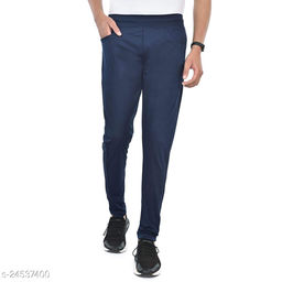 FLYNOFF Blue Solid 4Way Lycra Tailored Fit Ankle Length Men's Track Pant