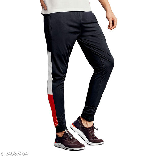 FLYNOFF Black Solid 4Way Lycra Tailored Fit Ankle Length Men's Pant