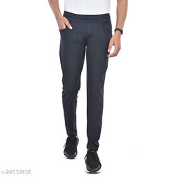 FLYNOFF Grey Solid 4Way Lycra Tailored Fit Ankle Length Men's Track Pant