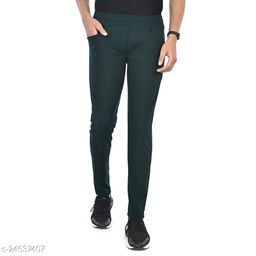 FLYNOFF Green Solid 4Way Lycra Tailored Fit Ankle Length Men's Track Pant