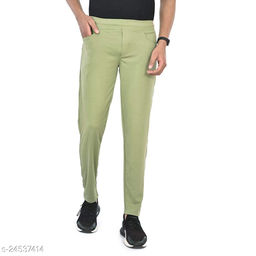 FLYNOFF Olive Solid 4Way Lycra Tailored Fit Ankle Length Men's Track Pant