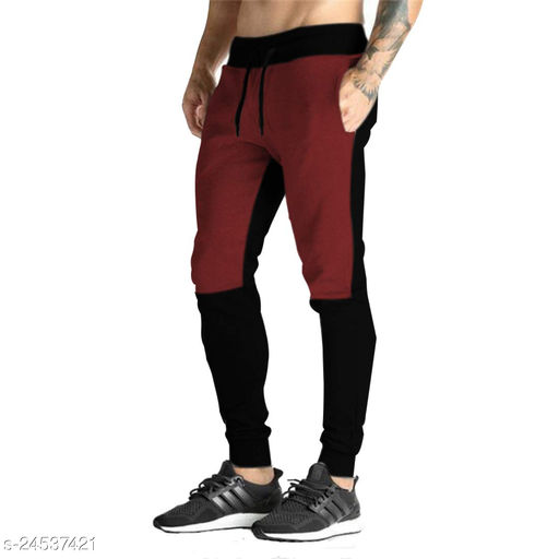 FLYNOFF Maroon Solid 4Way Lycra Tailored Fit Ankle Length Men's Track Pant