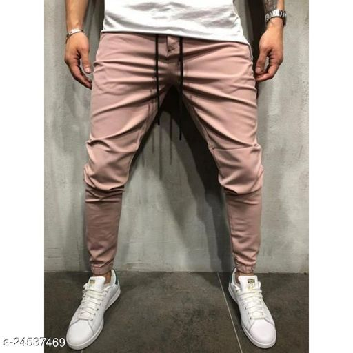 FLYNOFF pink Solid 4Way Lycra Tailored Fit Ankle Length Men's Track Pant