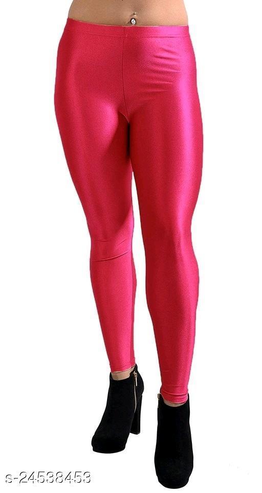 PINK SATIN LEGGINGS FOR WOMEN