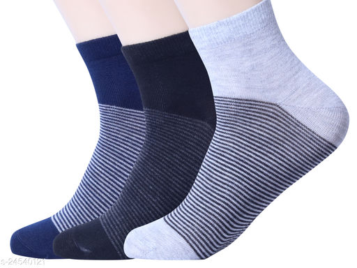 Casual Trendy Mix Cotton Socks For Men (Pack of 3)