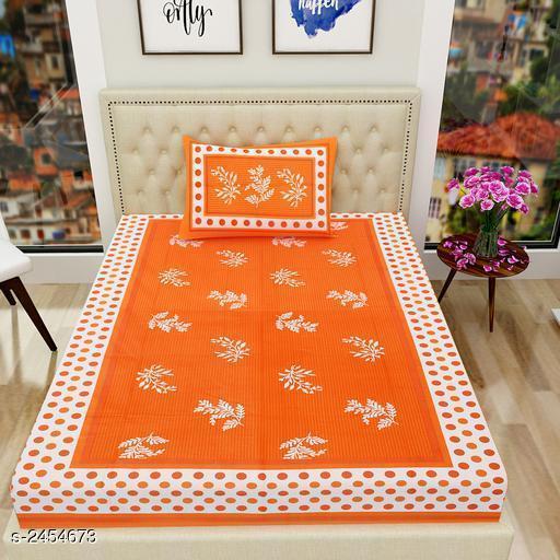 Decorative Printed Cotton Single Bedsheet
