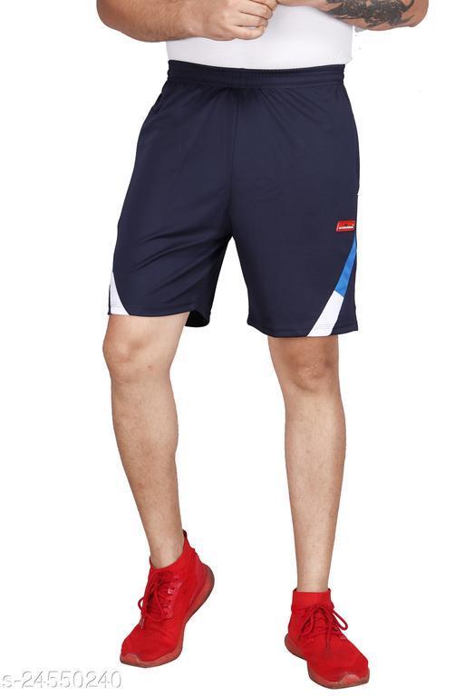 Carltron Men's Poly Cotton Shorts (Navy Blue)