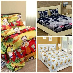 Classic Microfiber Printed Double Bedsheets Combo (Pack Of 3)