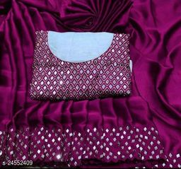 Heavy Mirror Work Sarees | Party Wear Sarees | Satin Silk Sarees with Real Mirror Work