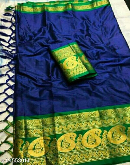 Piyora Gorgeous Blue And Green Color Soft Silk Saree With Blouse Piece