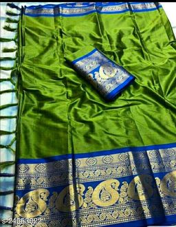 Piyora Gorgeous Green And Blue Color Soft Silk Saree With Blouse Piece
