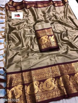 Piyora Gorgeous Beige And Brown Color Soft Silk Saree With Blouse Piece