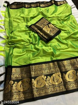 Piyora Gorgeous Mint Green And Black Color Soft Silk Saree With Blouse Piece