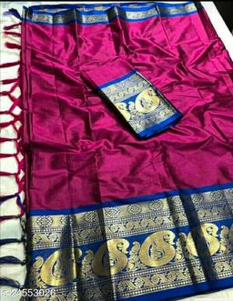 Piyora Gorgeous Pink And Blue Color Soft Silk Saree With Blouse Piece