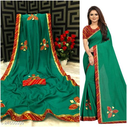 Febo Fashion Vichitra Silk Patch Work Saree With Blouse