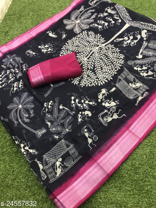 Trendy Cotton Blend Sarees