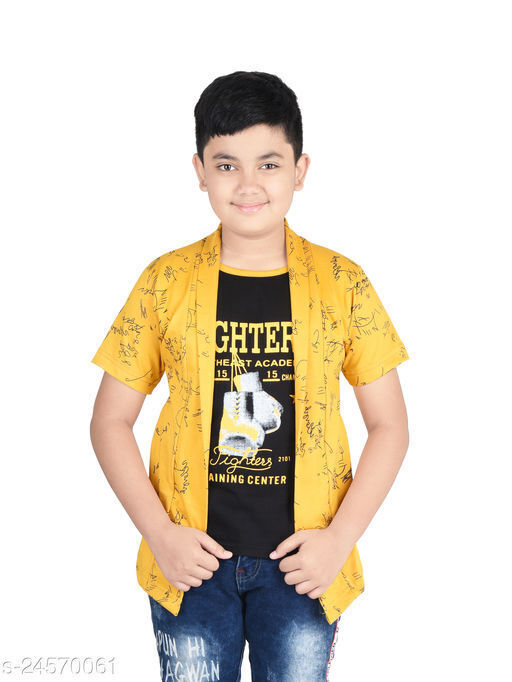 Fabshio Boy's Half Sleeve Cotton Smart Printed T-Shirt with Attached Mustard Shrug for Casual and Festive Purpose