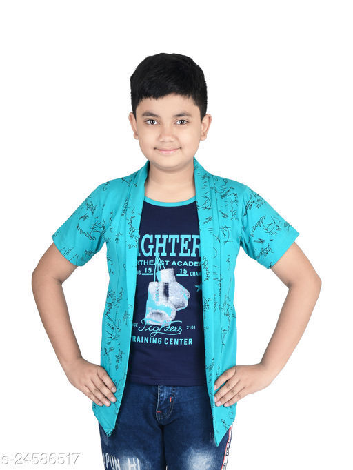 Fabshio Boy's Half Sleeve Cotton Smart Printed T-Shirt with Attached Green Shrug for Casual and Festive Purpose