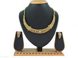 Women's Gold Plated stone work Jewellery Set