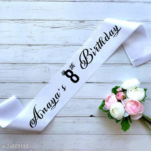 """Style Secrets Premium Quality 3"""" White Satin Customizable Sash with Your Name and Age or Your Beloved Name and Age for Girls Birthday"""