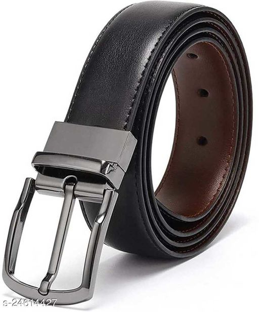 Mens Black and Brown leather Reversible Belt