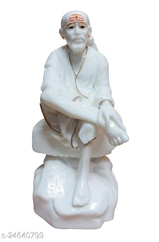 SAI AMRUT Sai Baba Murti Marble Dust Idol Statue for Pooja (White) (9 Inch)