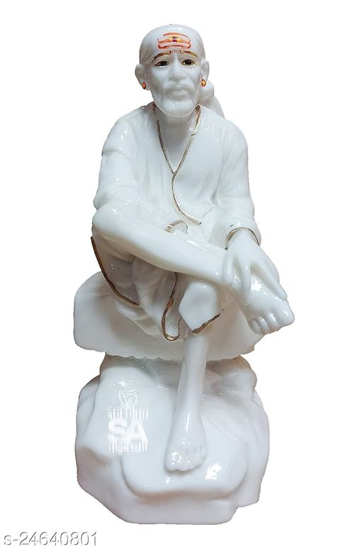 SAI AMRUT Sai Baba Murti Marble Dust Idol Statue for Pooja (White) (4.5 Inch)