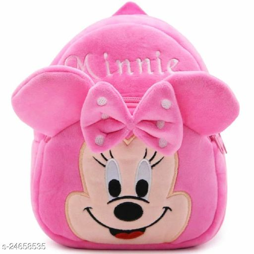 HHG Minnie Velvet School Bag Casual Bags for Nursery Kids, Age 2 to 5 Waterproof Plush BagBackpack Durable and Sturdy(Pink, 14 inch)