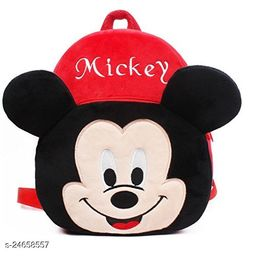 HHG School Bag for Kids Mickey Soft Plush Backpack School Bag(Red, 15 inch) (Multiple)