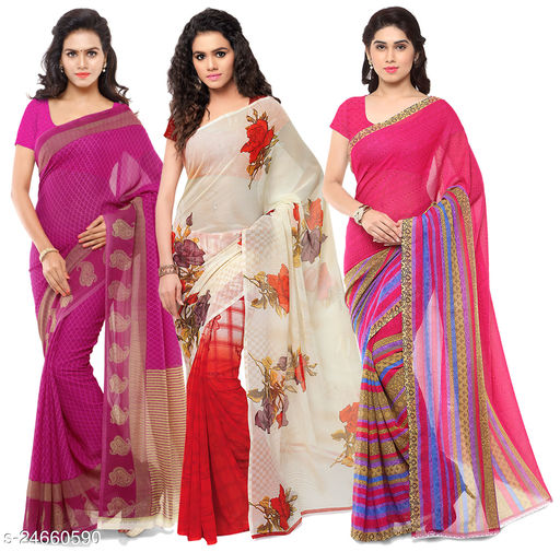 Set of Printed Georgette Sarees with unstitched Blouse Piece