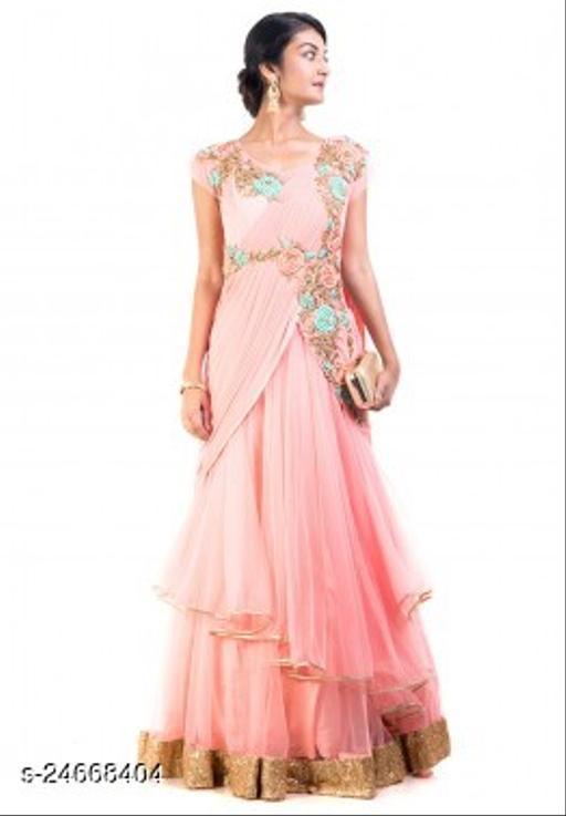 Trendy Women's Taffeta Silk  Long Gown
