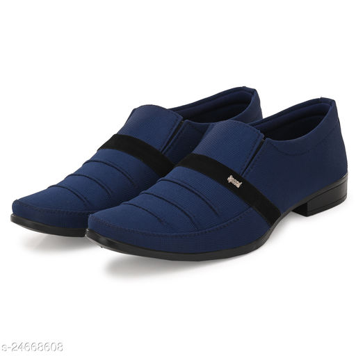 Stylish Men's Syntethic Leather Navy Blue Formal Shoes