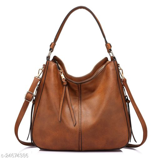 INOVERA Faux Leather Women Handbags Shoulder Hobo Bag Purse With Long Strap(Brown)