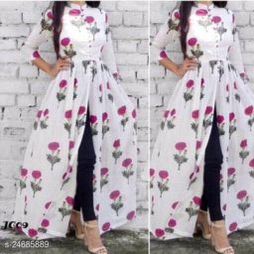 NEW PRINTED HIGH DEMANBLE FRONT CUT STYLE KURTI