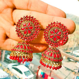 designer big jhumka earrings for wedding latest design party wear stone jhumki Red  color