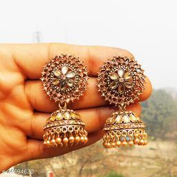 designer big jhumka earrings for wedding latest design party wear stone jhumki gold  color