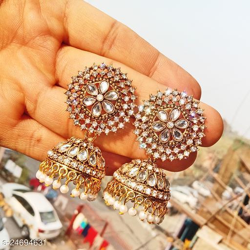 designer big jhumka earrings for wedding latest design party wear stone jhumki white  color