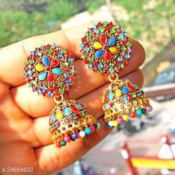designer big jhumka earrings for wedding latest design party wear stone jhumki Multicolor color